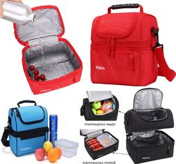 2 Compartment Lunch Bag for Men Women Leakproof Insulated Co