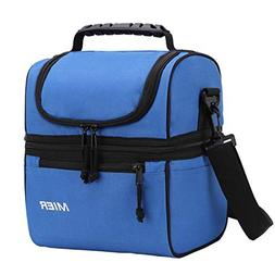 MIER 2 Compartment Lunch Bag for Men Women Kids, Leakproof I