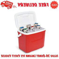 Igloo 28-Quart Laguna Ice Chest Cooler - Red, Camping Gear,