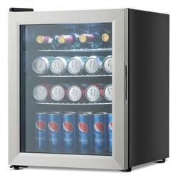 52-Can Beverage Refrigerator Cooler with Glass Door Stainles