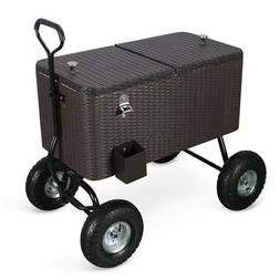 80 Qt Ice Chest Cooler Sports Party Backyard Wagon w/ 10' Te