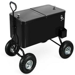 80 Qt Party Cooler Portable Cold Drink Wagon w/ 10' All Terr