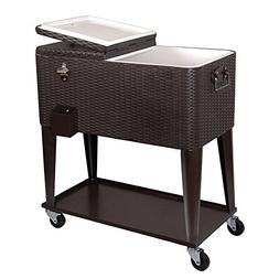 Clevr 80 Qt Outdoor Patio Cooler Rolling Cooler Dark Brown W