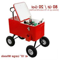 Clevr 80-Qt Red Rolling Cooler Wagon Ice Chest Cart Large Wh