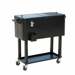 Outsunny 80 QT Rolling Cooler Ice Chest on Wheels Outdoor St