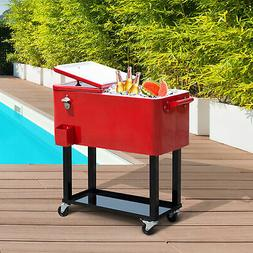 Outsunny 80 QT Rolling Ice Chest Portable Patio Party Drink