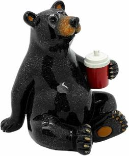 "Animal World Black Bear with Cooler Figurine 5"" Height Home"
