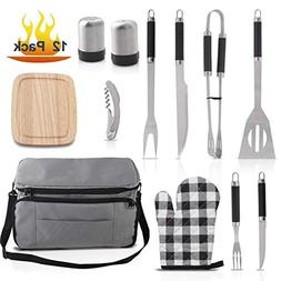 Grilljoy BBQ Grill Accessories Tool Set with 15 can Gray Ins