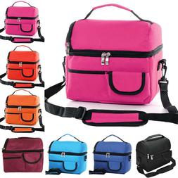 Women Men Double Deck Insulated Lunch Bag Thermos Cooler Tot