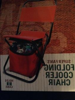 black and red folding chair with attached cooler under it