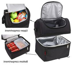 Black Double Deck Cooler Lunch Box Insulated Lunch Bag Large