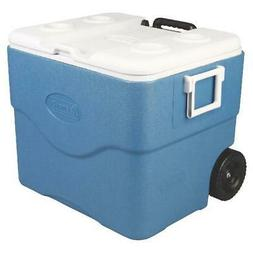 Blue/White Wheeled Cooler W/ Telescoping Handles and Heavy D
