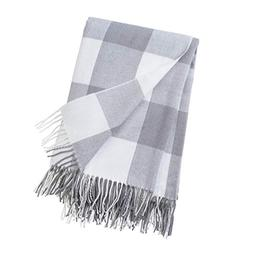 GOOD MANORS Throw Blanket with Fringe - Buffalo Check Plaid