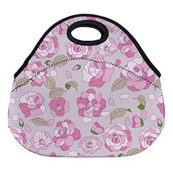 DKISEE Camellia Pattern Large & Thick Neoprene Lunch Bags In