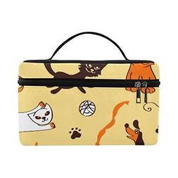 Cartoon Cats And Dogs On Yellow Background Pattern Lunch Box