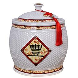 Ceramic rice cylinder Rice bucket Rice storage box Household