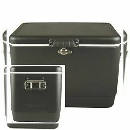 Coleman 54 qt. matte black steel cooler | coleman belted cam
