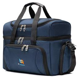 Large Cooler Lunch Bag With Extra Liner. Two Insulated Compa
