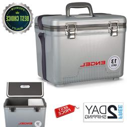 Cooler Dry Box 13 Qt Camping Drybox Compact Lunchbox Silver