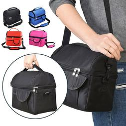 Double Deck Insulated Lunch Bag Women Men Thermos Cooler Foo