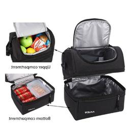 Double Deck Leakproof Cooler Bag Hot Cold Food Thermal Lunch