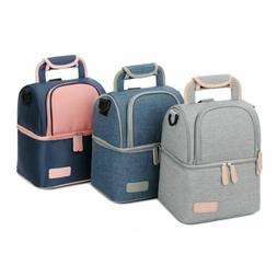 Double Layer Fashion Food Cooler Picnic Bag for Women Therma