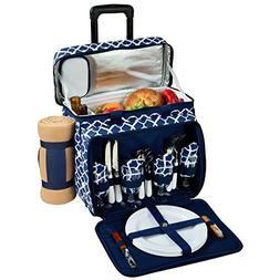 Picnic at Ascot Equipped Picnic Cooler On Wheels, Trellis Bl