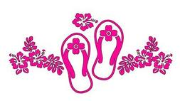 Flip Flops & Hibiscus Car Window Wall Decal Truck Yeti Coole
