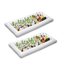 ShineMe 2 pcs Inflatable Ice Serving/Salad Bar Tray Food/Dri