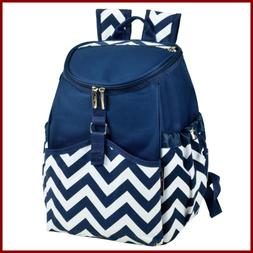 Picnic At Ascot Insulated Backpack Cooler BLUE Chevron
