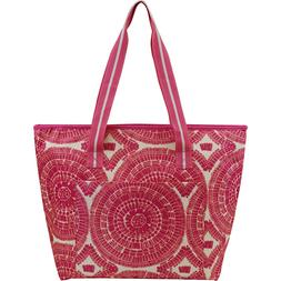 Insulated Cooler Tote Pink Sunburst  NWT