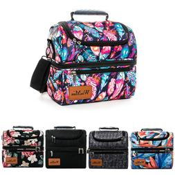 Insulated Lunch Bag Box Thermos Cooler Picnic Double Deck La