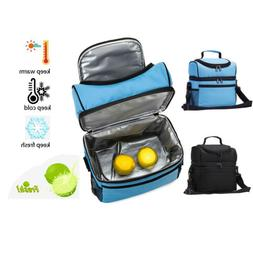 Insulated Refrigerated Lunch Box Bag Double Deck Cooler Reus