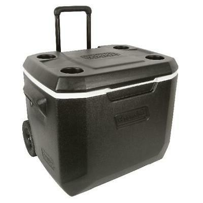 Coleman 50 QT Ice Cooler W/ Rolling Wheels Large Portable Fa