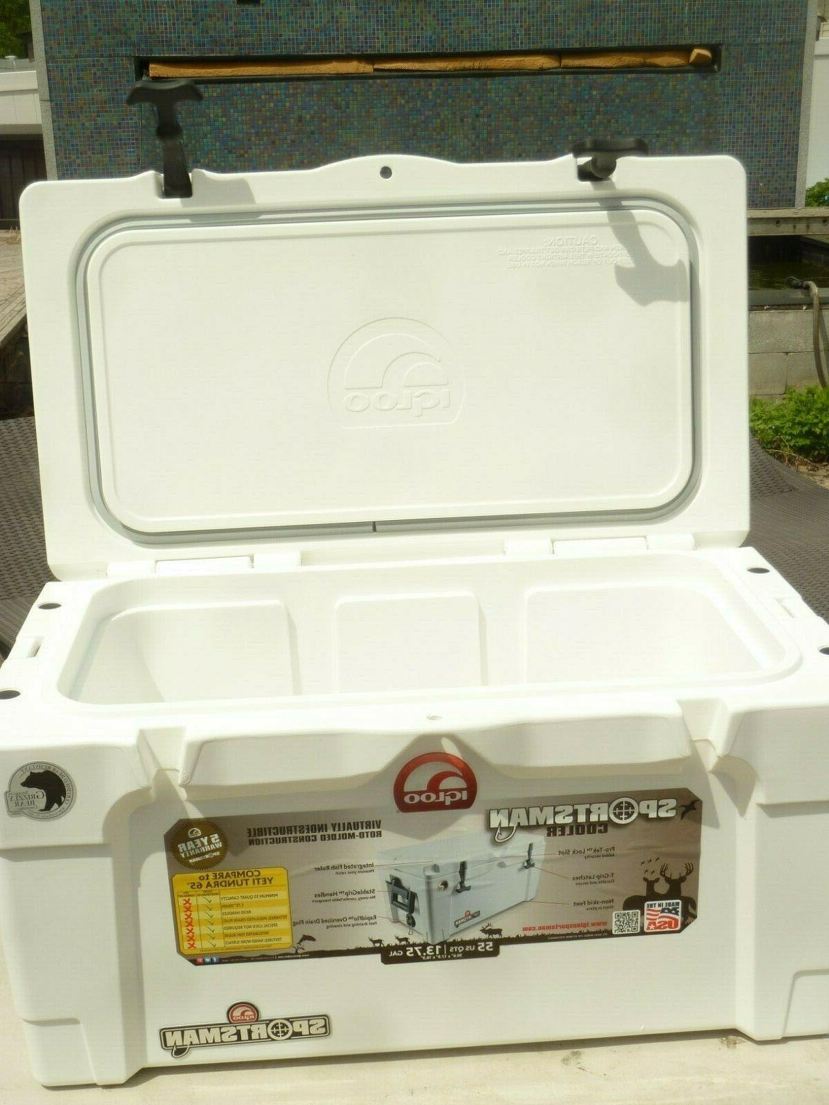 55 qt sportsman cooler white