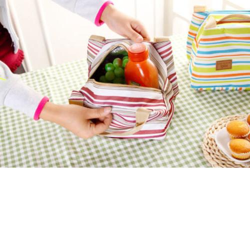 For Women Insulated Canvas Box Bag Thermal Cooler Food Lunch