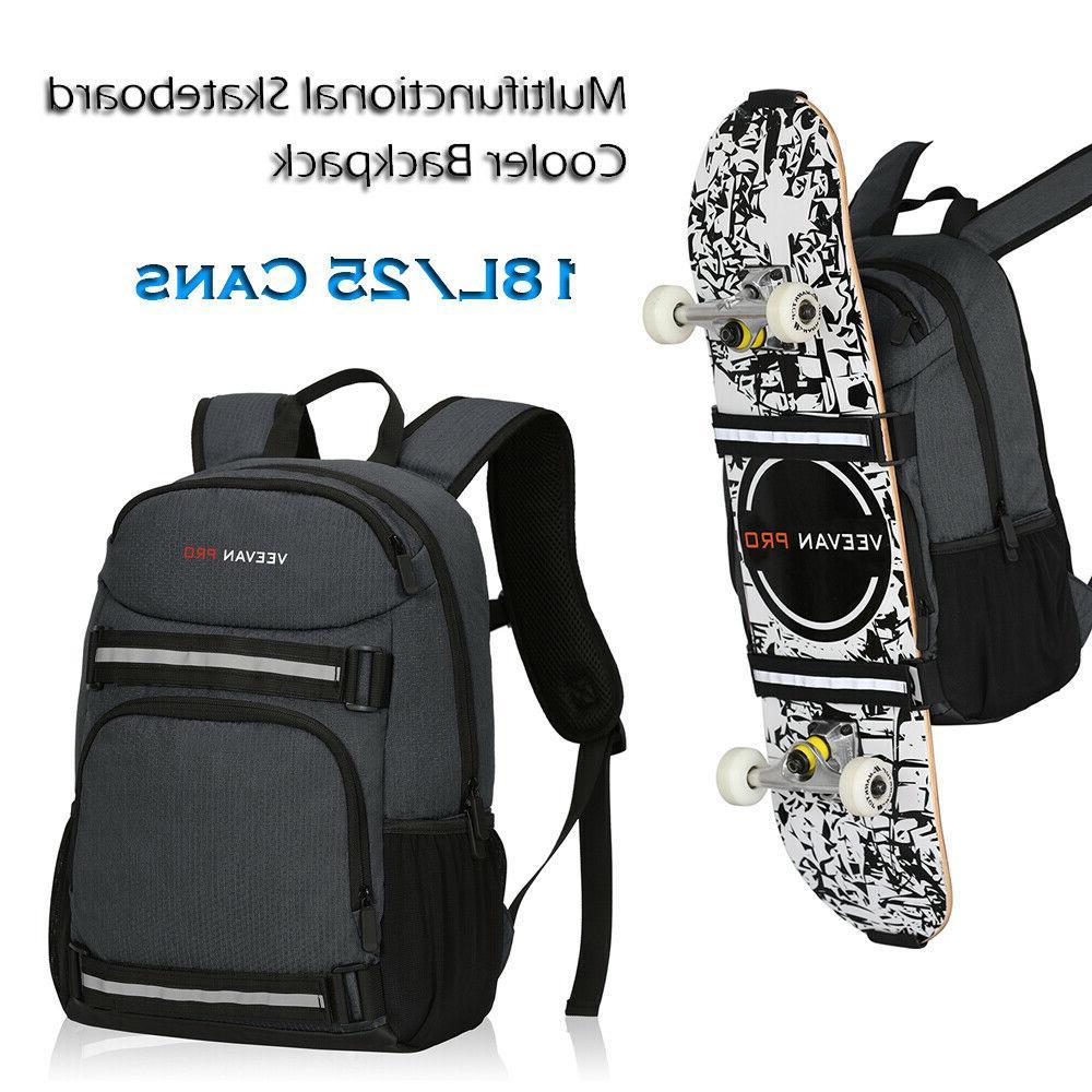 18L 24 Cans Leakproof Cooler Backpack Skateboard Backpack In