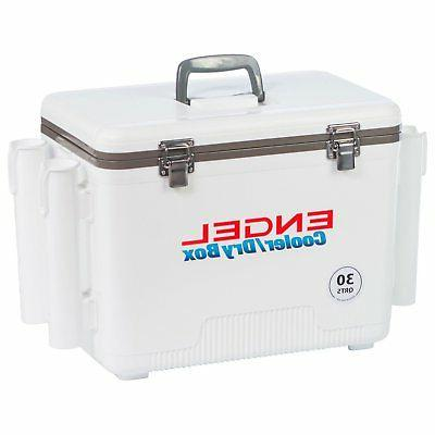 Engel Cooler/Dry Box with 4 Rod Holders - 30 Qt - White