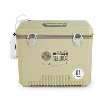 Engel 19 Insulated Live Bait Dry Box Cooler With Pump, Tan