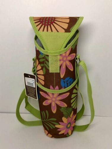 floral collection single bottle cooler beverage tote