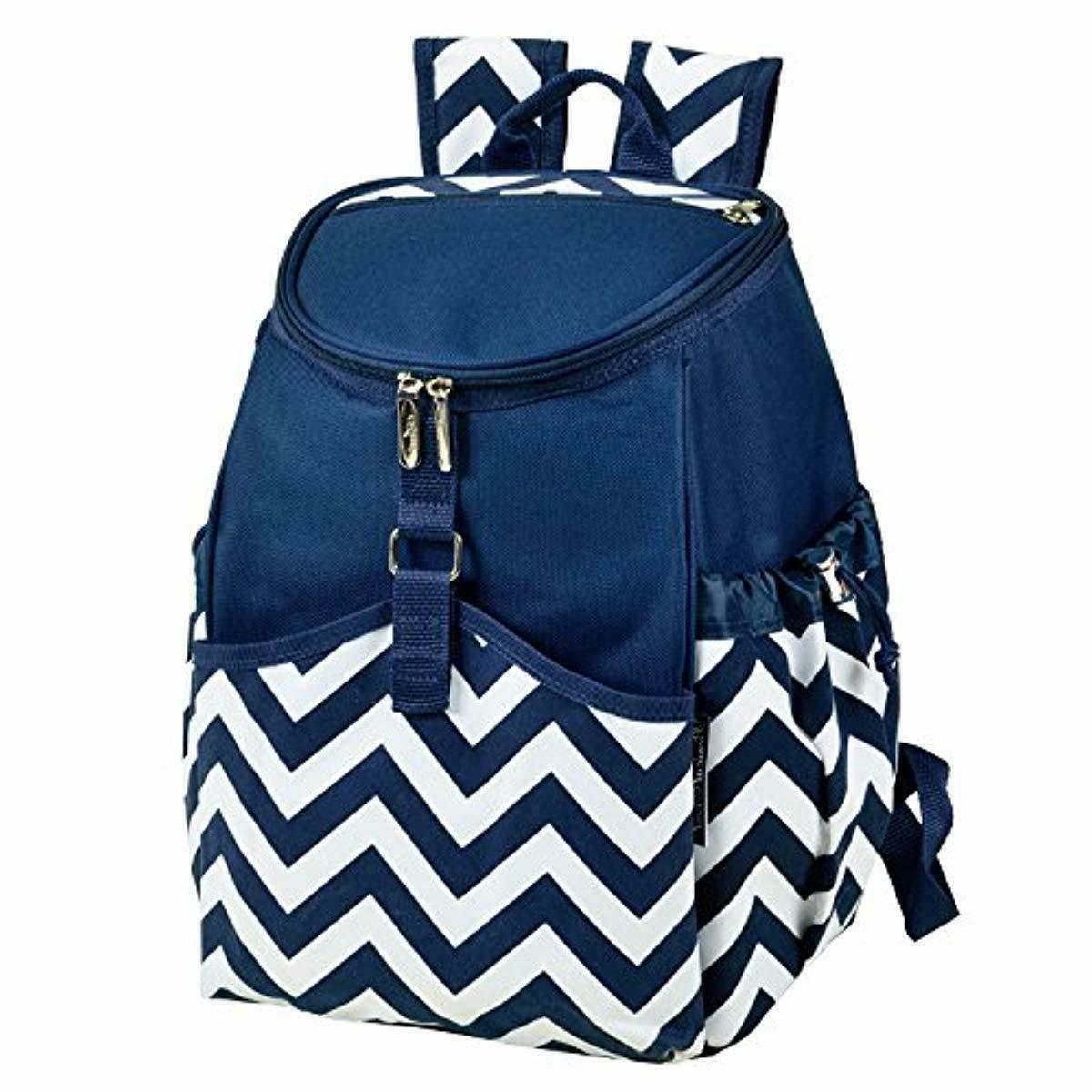insulated backpack cooler blue chevron