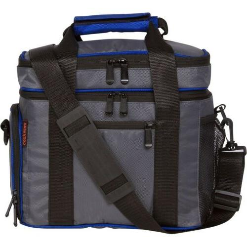 insulated grey blue lunch cooler bag