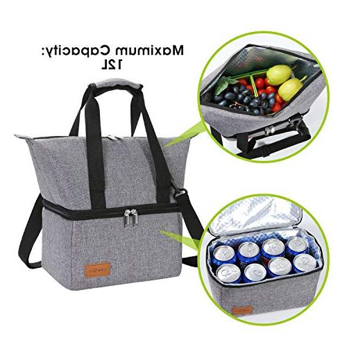 Lifewit Lunch Cooler Reusable Box, Lunch Bag Dual Compartment Bag for