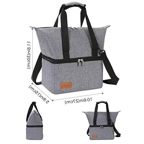Lifewit Cooler Bag Reusable Lunch Lunch Adults/Men/Women, Dual Compartment Cooler for Prep/Work, Gray