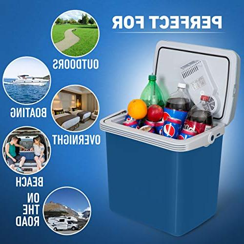 K-Box Electric Cooler Warmer for Car and Home 34 Quart - Dual House 12V Vehicle
