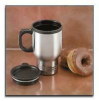 Maxam 14oz Stainless Steel Travel Mug with an insulated plas