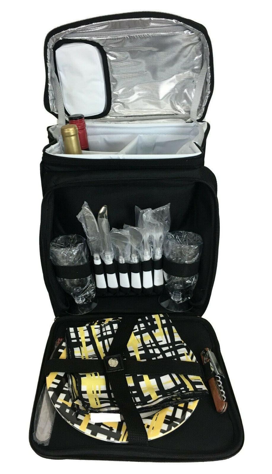 paris picnic cooler backpack for 2 wine