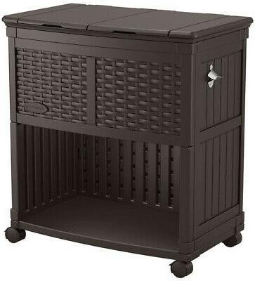 Resin Wicker Cooler Station Storage For Indoor Outdoor Occas