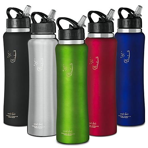 SWIG SAVVY Stainless Water with Straw Cap, Mouth Sports Drinking Carrying 32oz  