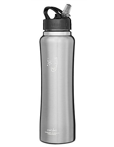 SWIG SAVVY Water Bottle with Straw Cap, Double Wall Mouth Sports Drinking Container Carrying Pouch -